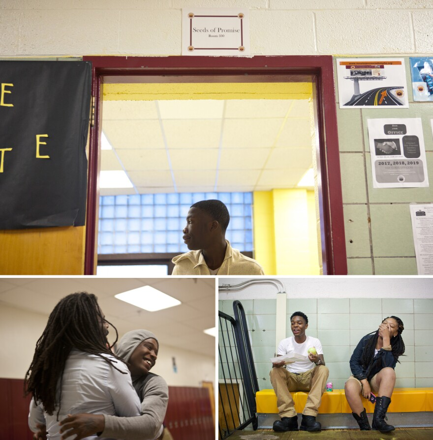 TOP: Student Dwayne Russell walks out of an office after checking in to start his day at school. RIGHT: Students Aaron Smith, 17 (left) and Lanaya Whittington, 16, interact in the gym during their lunch break. LEFT: Antwon Cooper embraces student Darian Bowers, 17, in the hallway.