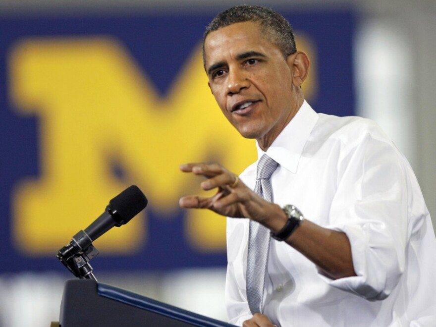 President Obama making his case this morning at the University of Michigan in Ann Arbor.