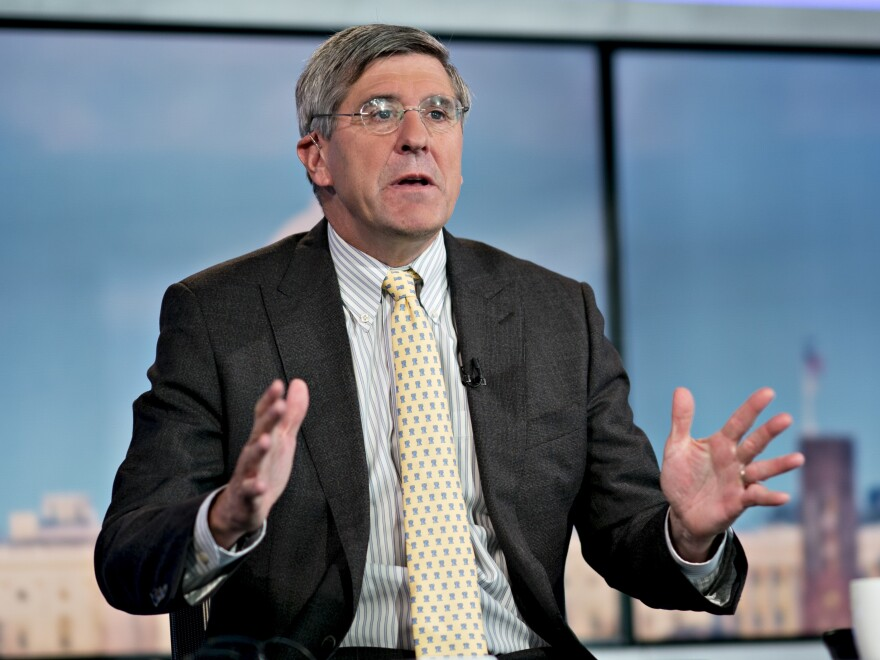 Stephen Moore speaks during a Bloomberg Television interview in Washington, D.C., on Thursday. He withdrew from consideration for a seat on the Federal Reserve Board, President Trump said.