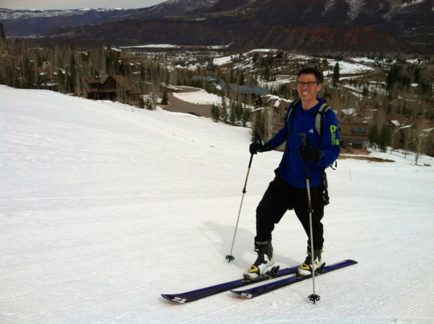 For a more invigorating workout, nonprofit worker Chris Lane uphill skis near Aspen four times a week.
