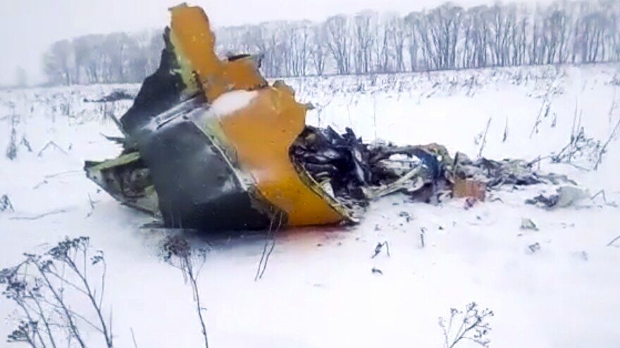 In this screen grab provided by the Life.ru, the wreckage of a plane is seen near the Russian village of Stepanovskoye, about 25 miles from Moscow's Domodedovo airport.