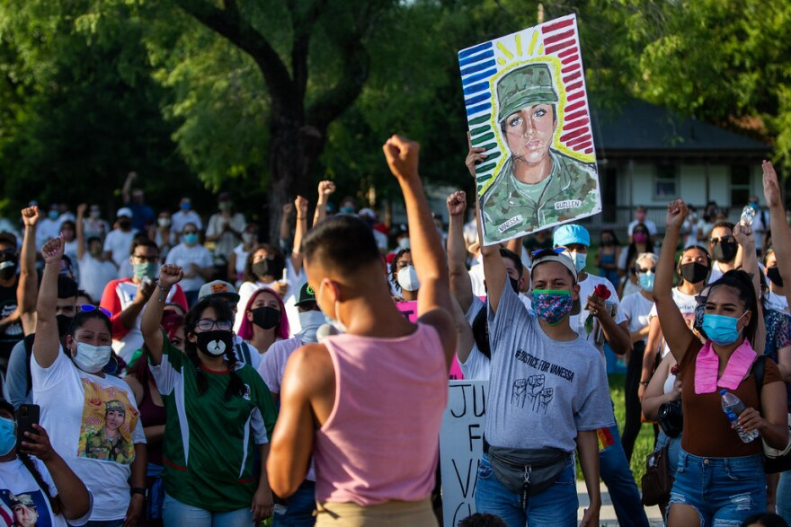 Uriel Guillen speaks during a march and rally In East Austin on Sunday for his cousin, Army Spc. Vanessa Guillen, who is believed to have been killed by a fellow Fort Hood soldier.