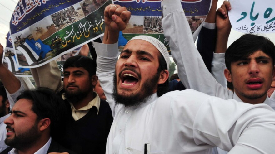 The airstrikes that killed 24 Pakistani soldiers have sparked protests. In Peshawar, Pakistan, on Thursday students shouted anti-U.S. slogans.