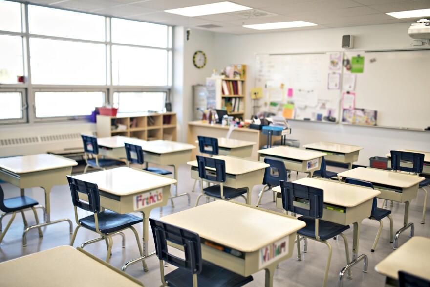 Empty classroom, school, classroom, desks