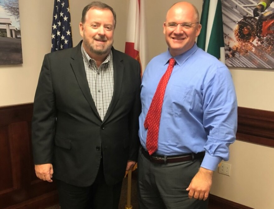 Florida Department of Children and Families Secretary Mike Carroll (left) with Walton County Sheriff Mike Adkinson (right)