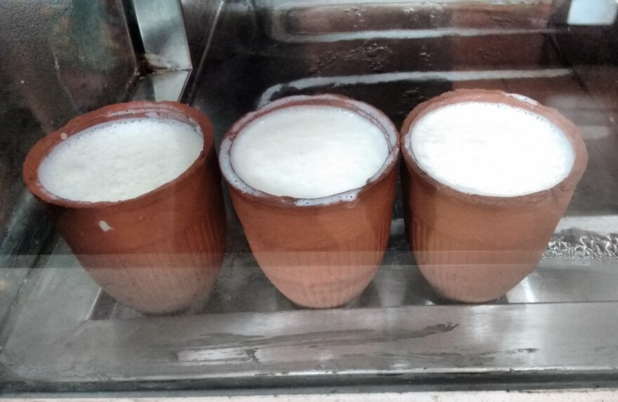 When Indians run out of yogurt starter at home, they might run out to pick up some shop-made stuff sold in old-fashioned tumblers like these, seen in a shop in New Delhi.