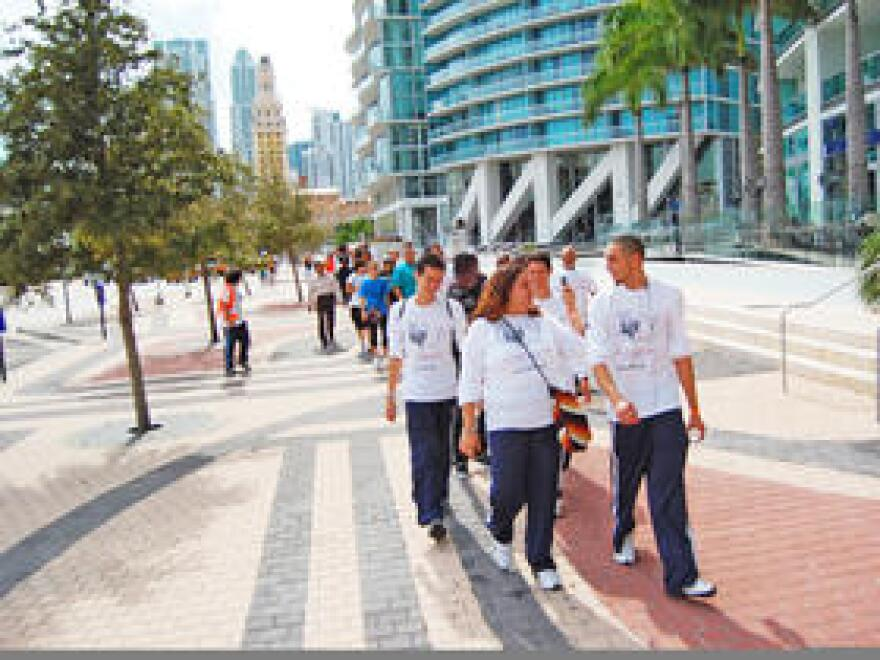Dreamers setting out from Miami's Freedom Tower on their walk to Washington DC in 2010.