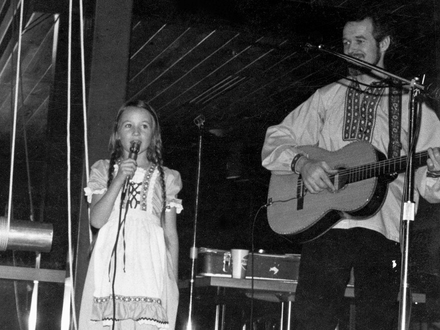 One of Jewel Kilcher's early performances in a Swiss yodeling outfit with her dad.