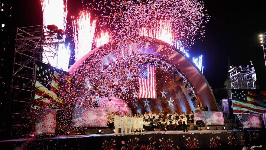 The Boston Pops rehearses for its Fourth of July Fireworks Spectacular on July 3, 2012, at the Charles River Esplanade.