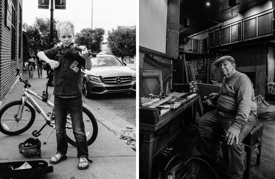 A young street performer shows that if you're old enough to play a fiddle, you're old enough to busk. For those who prefer their music mostly indoors, they can get a piano repaired on Second Avenue.