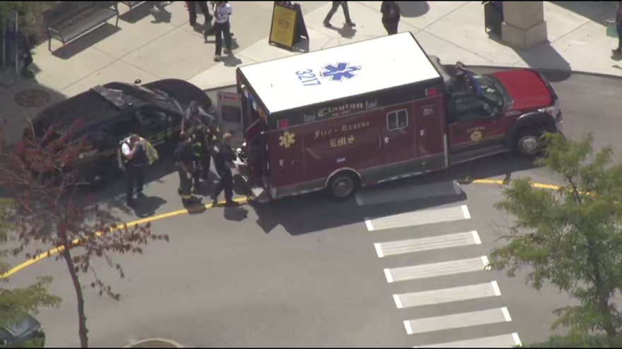 5 On Your Side's helicopter was over the scene at the St. Louis Galleria mall as one person was loaded into the back of an ambulance.
