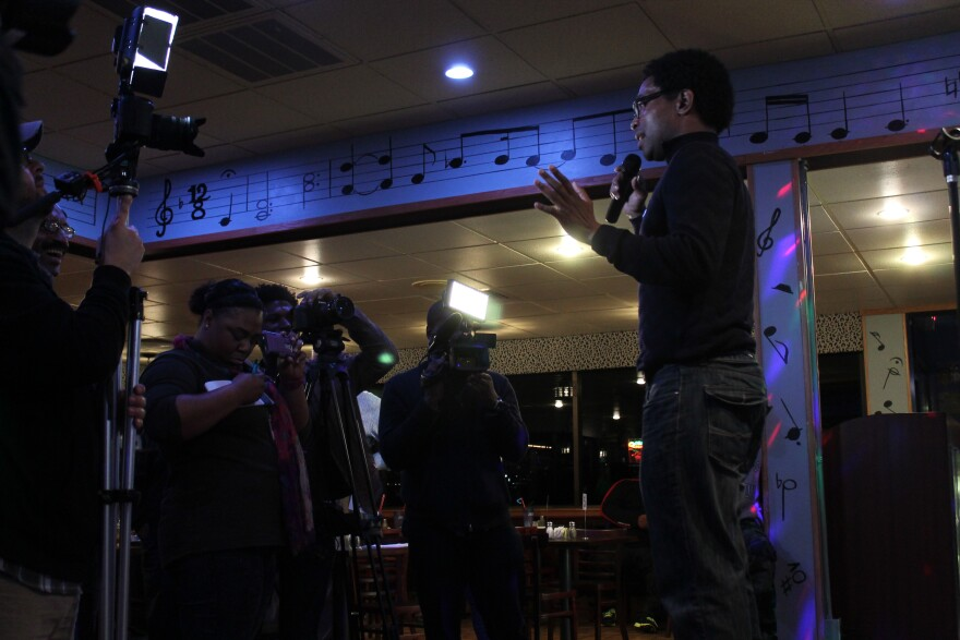 Wesley Bell declares victory at J&C BBQ and Blues Restaurant in Ferguson.