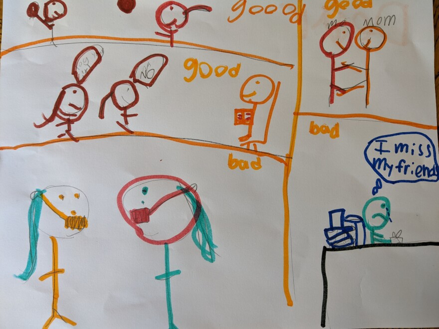 """Anya, age 7, from Seattle, made a comic-style postcard and told us about """"sweater ball."""""""