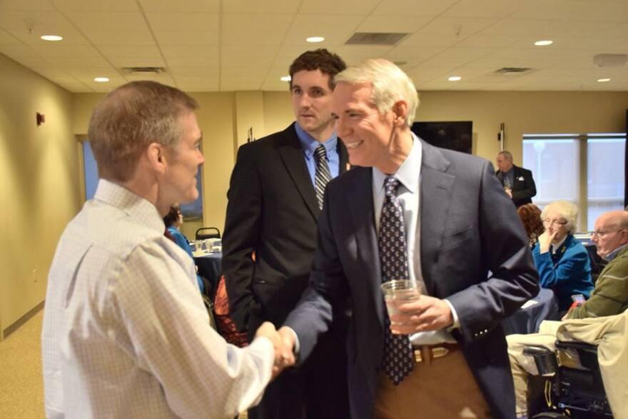 U.S. Senator Rob Portman (R-OH) shakes hands with U.S. Rep. Jim Jordan (R-04, Urbana) in 2019.