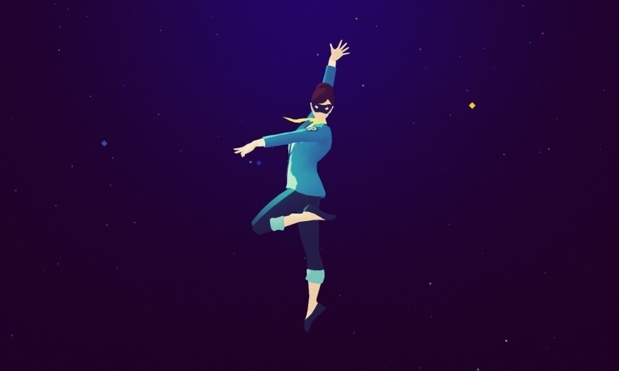 <em>Sayonara Wild Hearts</em>' protagonist assumes her heroic form as masked avenger The Fool.