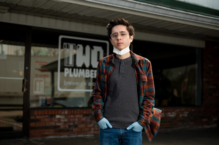 Before the coronavirus outbreak, Tyler Keohane, photographed on April 9, 2020, worked as a bartender at two different establishments, including Two Plumbers Brewery in St. Charles.