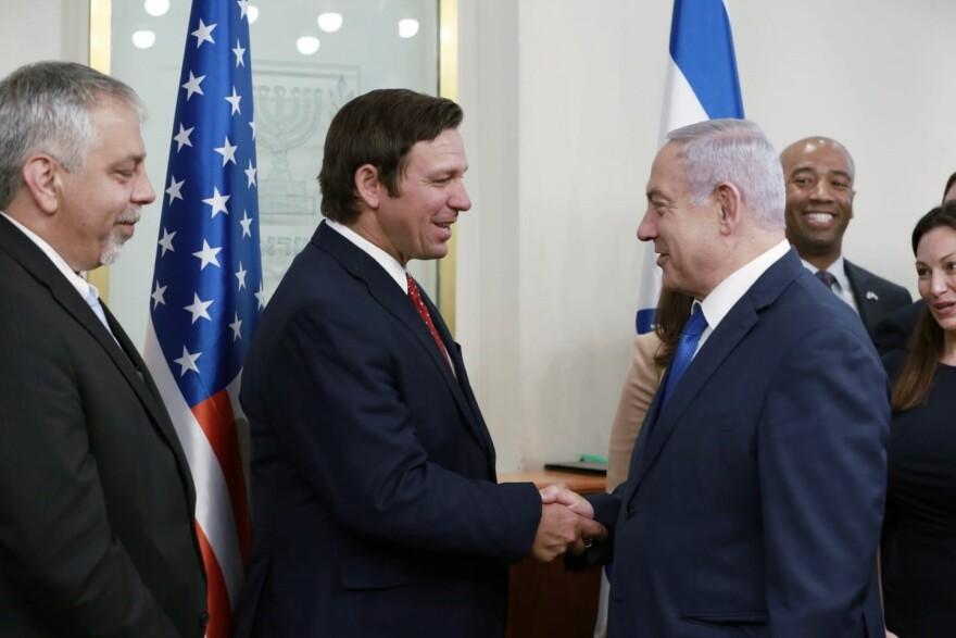 Gov. Ron DeSantis and Israeli Prime Minister Benjamin Netanyahu.