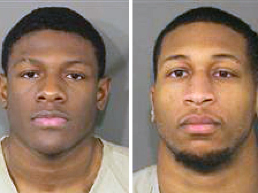 These photos provided by the Franklin County Ohio Sheriff show Jahsen Wint (left) and Amir I. Reip (right). Police say the two Ohio State University football players have been charged with rape and kidnapping.