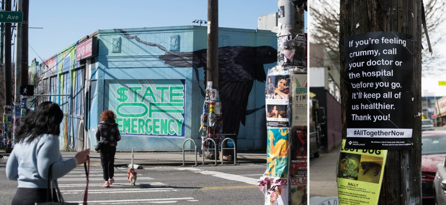 A mural in Seattle's Capitol Hill neighborhood (left) and a poster in the Central District (right) are signs of the times, as information about the coronavirus outbreak evolves quickly.