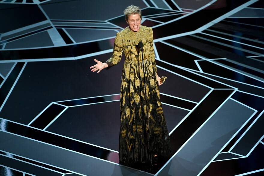 Frances McDormand won best actress for her role in <em>Three Billboards Outside Ebbing, Missouri</em>. As she accepted her award, she asked all other female Oscar nominees to stand up and be recognized.