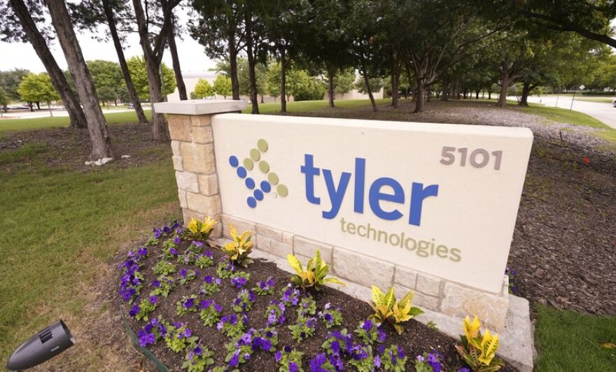 Tyler Technologies sign outside the Plano offices