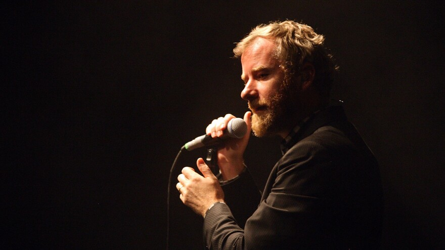 Matt Berninger of The National will open for a President Obama rally Saturday in Des Moines, Iowa. Here, Berninger performs in Brisbane, Australia, in 2011.