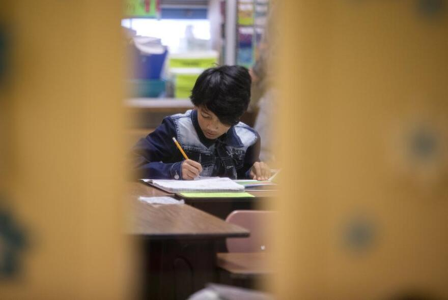 A student in a classroom at Cactus Elementary School