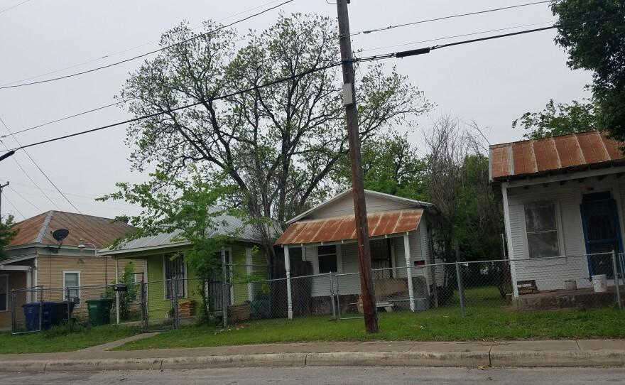 Row of shotgun houses on San Antonio's West Side.