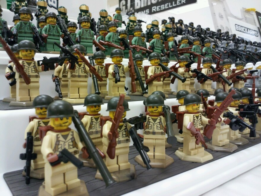The bodies of these World War II U.S. Marines and Western Front soldiers are made by Lego, while the helmets and weapons are made by BrickArms. The uniforms are designed and printed by BrickArms.