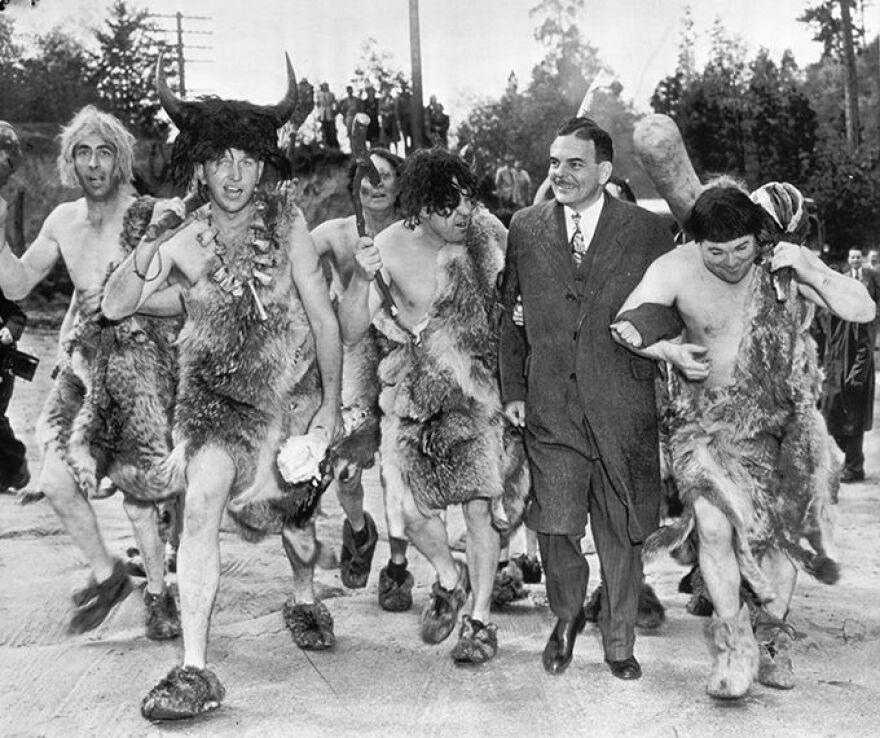 Thomas E. Dewey campaigns with the Oregon Cavemen Club in Grants Pass, Ore. in May of 1948.