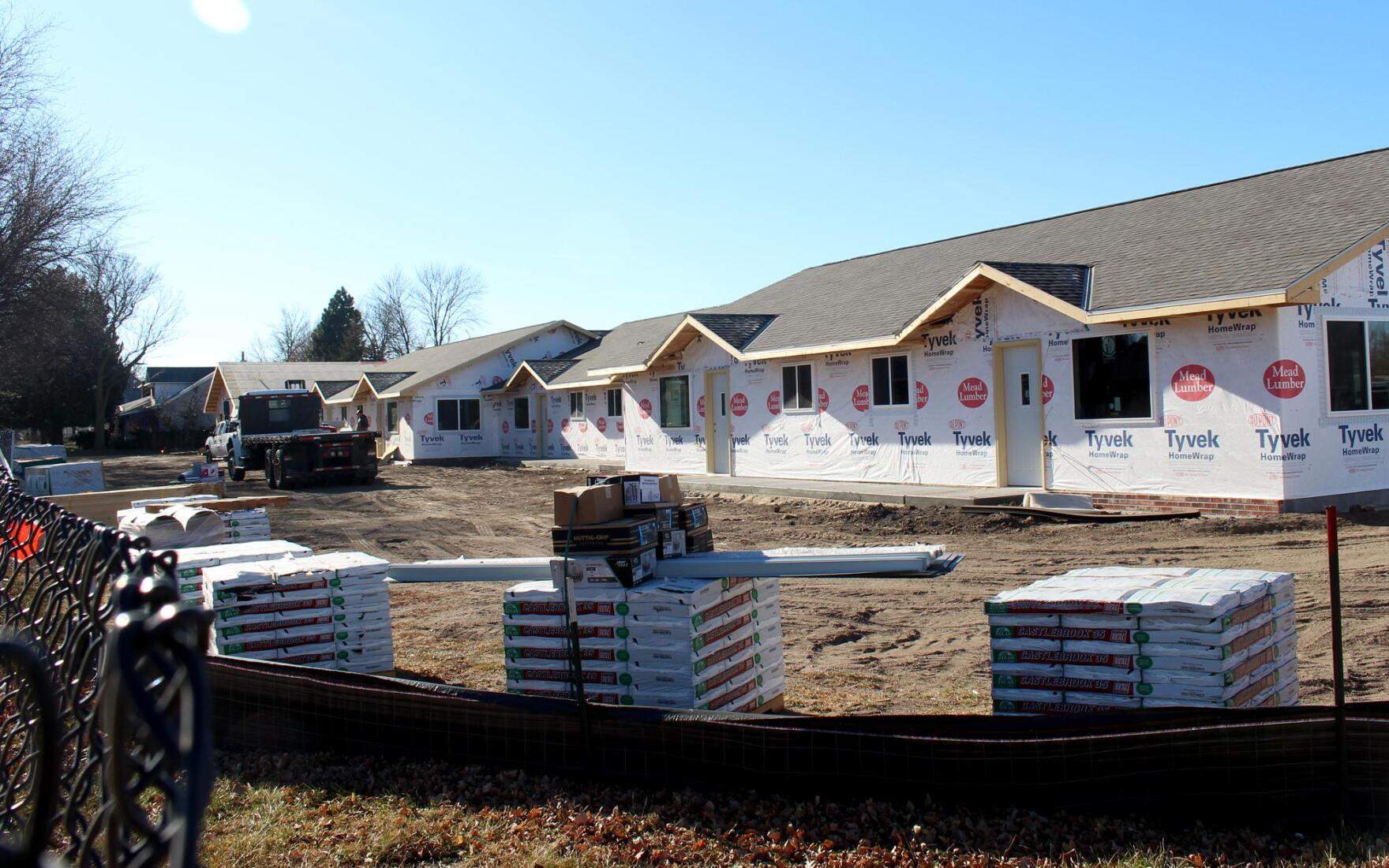 New apartments under construction in Holdrege, Nebraska, where an elementary school used to be.