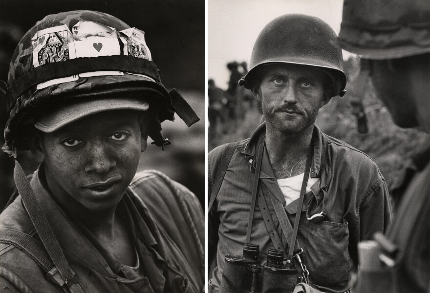 Right: Pfc. John L. Lewis decorates his helmet with good luck tokens in Khe Sanh, February 1968. Left: Captain Ike Fenton, Commanding Officer of Baker Company, 5th Regiment of the 1st Marine Brigade, receives reports of dwindling supplies during the battle to secure No-Name Ridge along the Naktong River, Korea in September 1950.