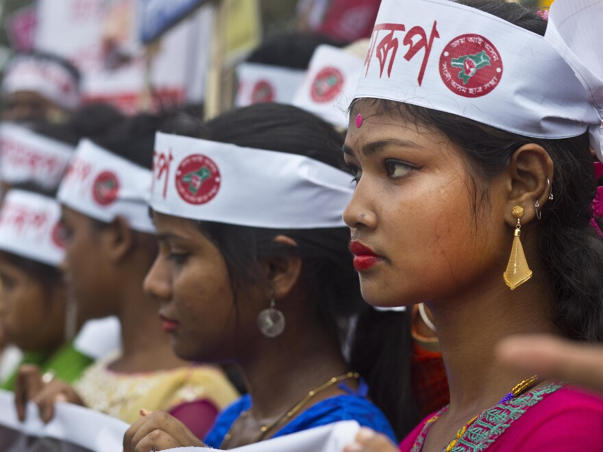 Activists of All Assam Students' Union (AASU), along with 28 other organizations walk during a protest rally against India's Citizenship Amendment Bill 2016 in Gauhati, northeastern Assam state, India, last month.
