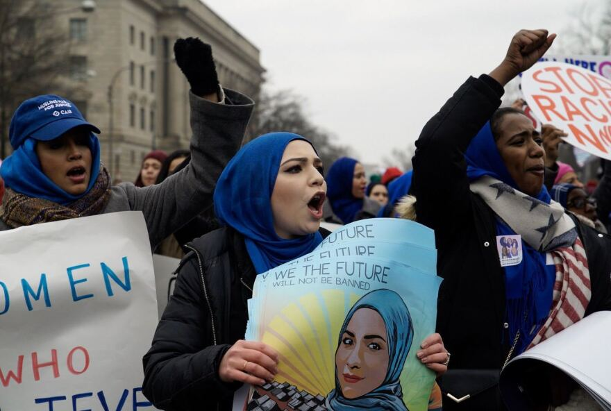 The Women's March in Washington found itself coping with an abbreviated route because of the government shutdown.