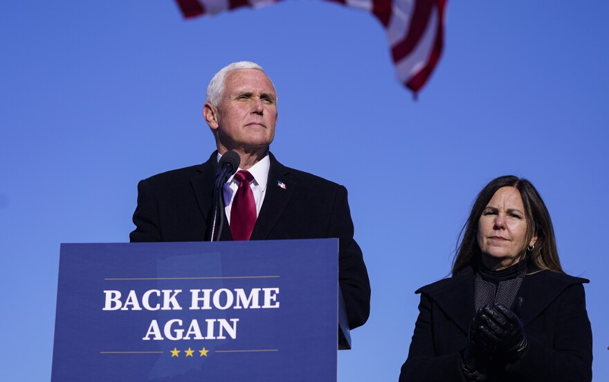 Former Vice President Mike Pence, seen here after arriving back in his hometown of Columbus, Ind., on Jan. 20, has declined an invitation to speak at CPAC.