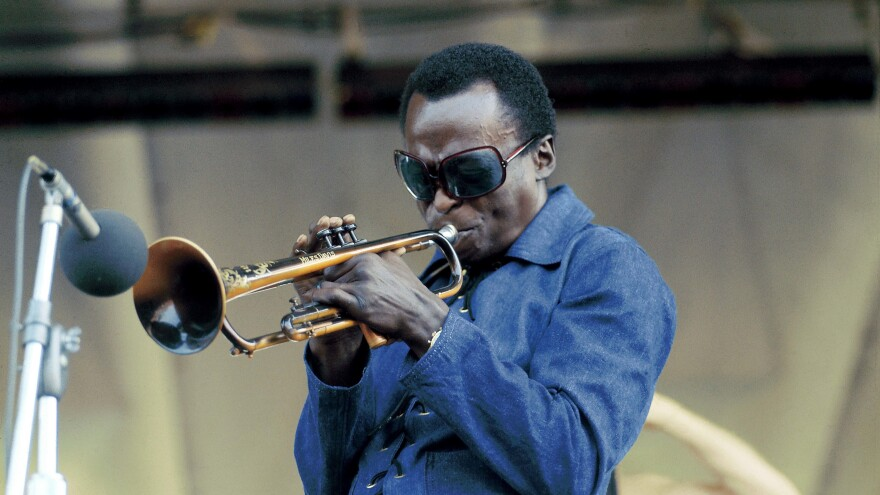 Miles Davis performing at Newport Jazz Festival in 1969.