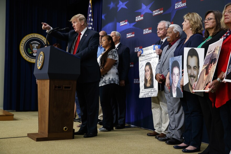 President Donald Trump delivers remarks on immigration alongside family members affected by crime committed by undocumented immigrants, at the South Court Auditorium on the White House complex, Friday, June 22, 2018, in Washington. (Evan Vucci/AP)