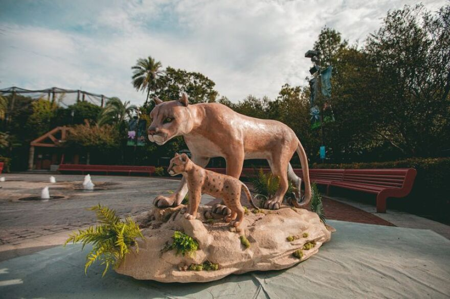 The Tampa Zoo at Lowry Park will host a sculpture of a Florida panther and her cub as part of the Florida Climate Crisis statue program.