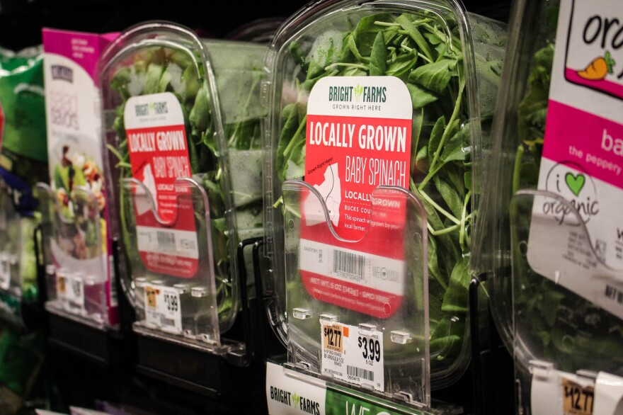 Salad greens grown in a BrightFarms greenhouse on sale at a nearby McCaffrey's grocery store.