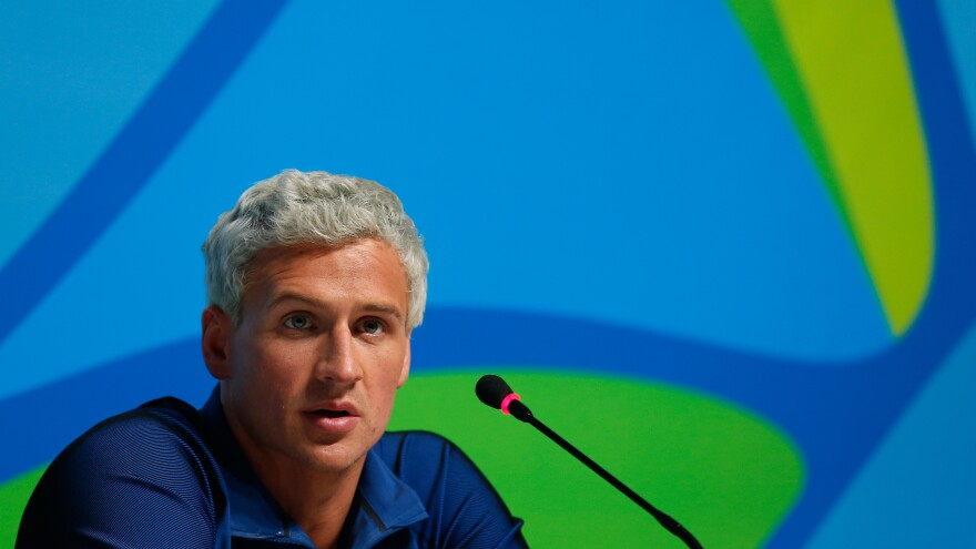 U.S. swimmer Ryan Lochte attends a news conference on Aug. 12 in Rio de Janeiro.