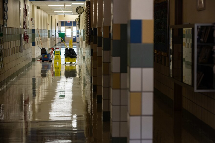 The hallway is empty at Galindo Elementary School in South Austin in July.