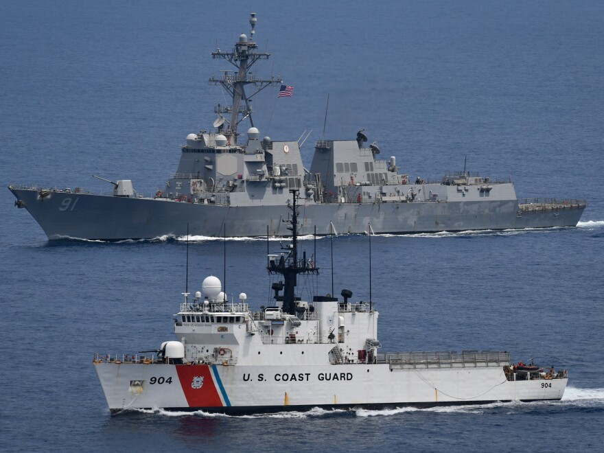 "The Navy destroyer USS Pinckney and the U.S. Coast Guard cutter USCGC Northland sailed together in the Eastern Pacific on April 26. The ships are part of an ""enhanced"" push to stop cocaine smuggling."