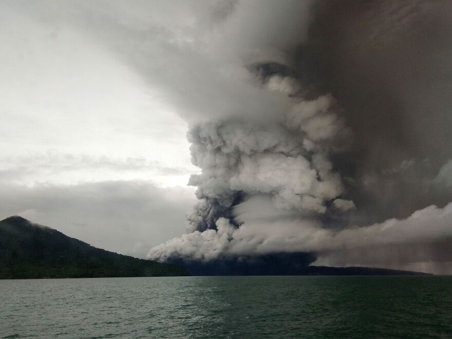 Anak (Child) Krakatau volcano erupts, as seen from a ship on the Sunda Straits, Indonesia, on Thursday.
