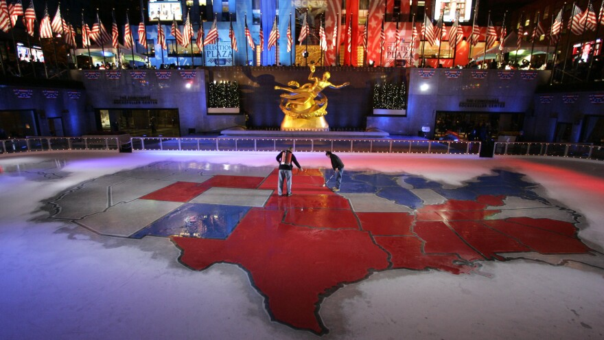 """Texas was decidedly red on the electoral map in NBC News' """"Election Plaza"""" in New York's Rockefeller Center in 2008. Do Democrats really have a chance to turn it blue in the future?"""