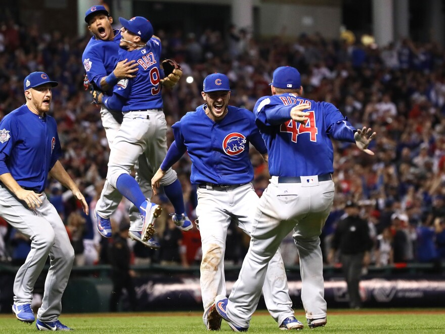 The Chicago Cubs celebrate after winning 8-7 in Game Seven of the 2016 World Series. It had been 108 years since the team won their last series.