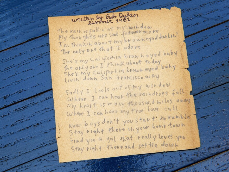 Having been awarded the Nobel Prize in Literature, Bob Dylan joins the ranks of T.S. Eliot, Toni Morrison and others. Dylan is the first musician to win the award. Above are Dylan's originally handwritten lyrics for <em>California Brown Eyed Baby</em>.