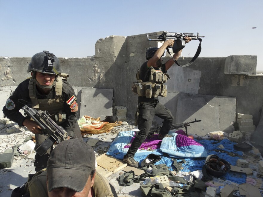 Iraqi Special Operations Forces soldiers during clashes with the Islamic State of Iraq and Syria (ISIS) in Ramadi in June.