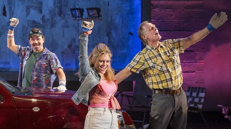 Keith Carradine (right) performs with the cast of <em>Hands on a Hardbody</em> during its spring 2013 run in New York.