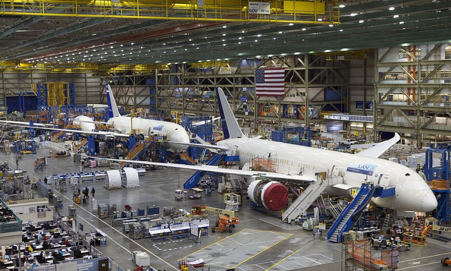 Boeing 787 Dreamliners sit on the assembly line at the Boeing Factory in Everett, Washington. (Stephen Brashear/Getty Images)
