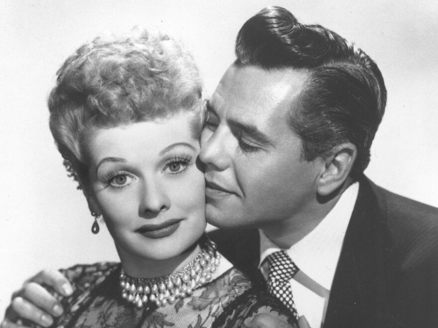 Comedian-actress Lucille Ball and her husband, musician-actor Desi Arnaz, stars of <em>I Love Lucy.</em>